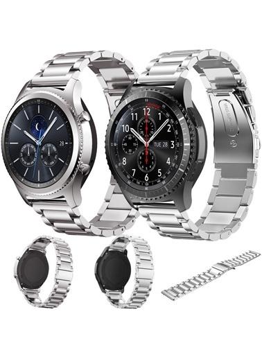 Techmaster Techmaster Samsung Galaxy Watch 3.45 mm   Kordon Kayış Gümüş